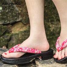 WHOHOLL Geta Female Flat Kimono Slippers Japanese Clogs Flip-flops Paulownia Wooden Cosplay Costumes Shoes Size 33 34