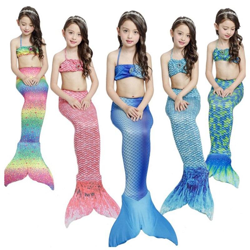3 Pcs Girls Rainbow Mermaid Tail Swimwear Bathing Suit Cosplay Costume Bikini ..
