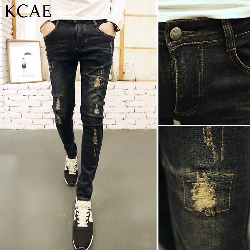 ФОТО Hot 2016 Men Slim Elastic Ripped Biker Jeans Men Hip Hop Men Skinny Jeans Men's Jeans Denim Pants feet