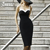INDRESSME Elegant Strapless Knee Length Women Evening Party Bandage Dress Sexy Spaghetti Strap Backless Women Dress
