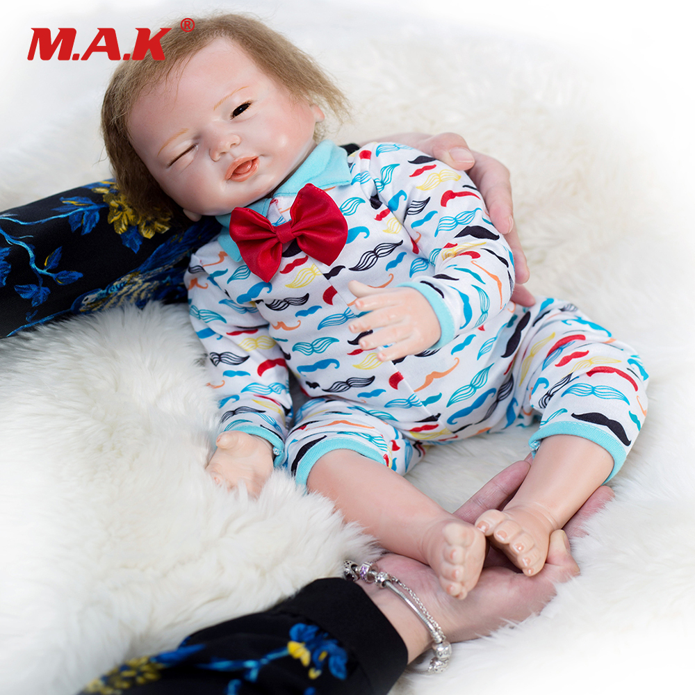 купить Lovely Cute doll 48cm Soft Silicone Reborn Dolls Babies Real Sleeping Reborn Baby Bonecas Children Toys Birthday Gift Brinquedos по цене 5078.73 рублей