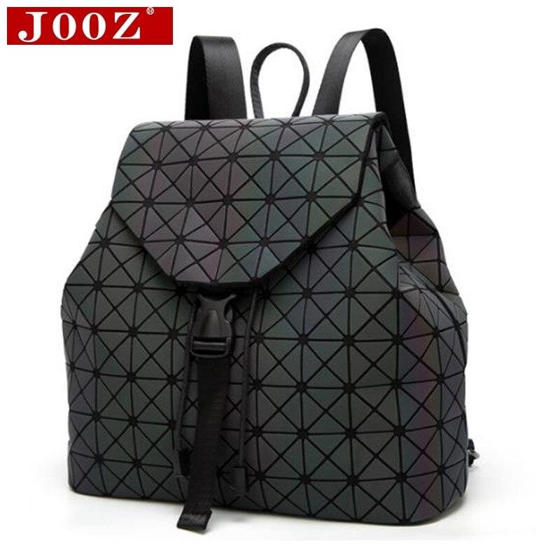 JOOZ mujeres luminosos de lujo mochilas gran capacidad estudiantes mochilas bolsas de escuela para la niña moda Bling holograma mochila femenina