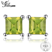 3c0840f359b7 JewelryPalace Square Natural Peridot 925 pendientes de plata esterlina  joyería fina para las mujeres de moda joyería Declaración