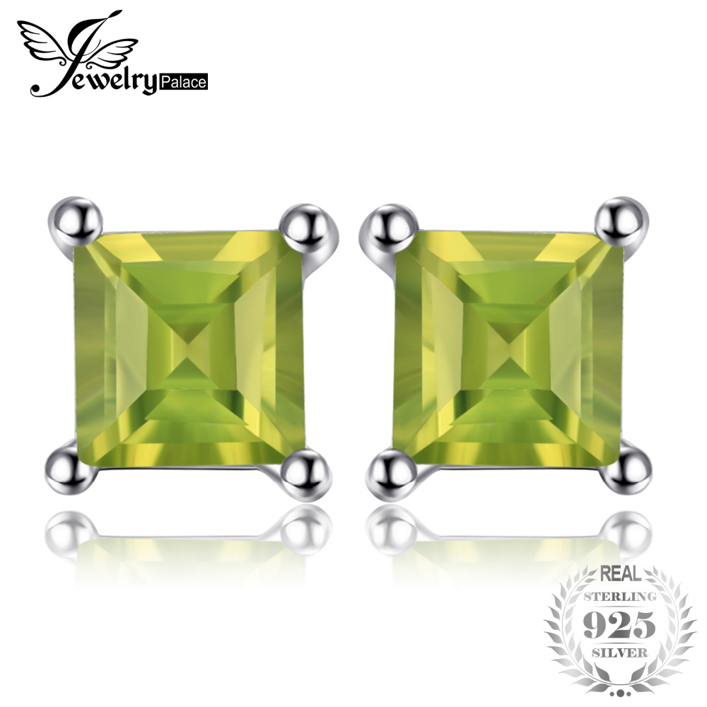 JewelryPalace Square Natural Peridot 925 Sterling Silver Stud Earrings Fine Jewelry for Fashion Women Statement Jewelry