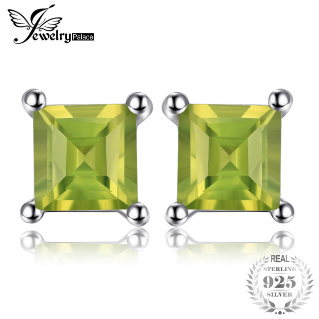 JewelryPalace Square Natural Peridot 925 Sterling Silver Stud Earrings Fine Jewe