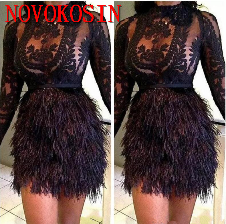 2019 High Neck Ostrich Feather Appliqued Transparent Short Mini   Cocktail     Dress   Long Sleeve Prom Party Gowns vestido de festa