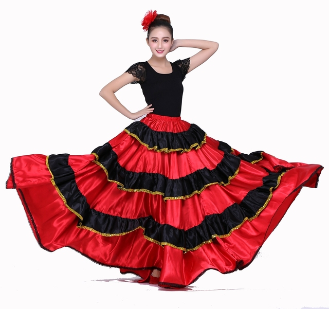 f78c7ac0ff55 Spanish Dance Costumes Flamenco Dance Skirt Belly Dance Skirt ...