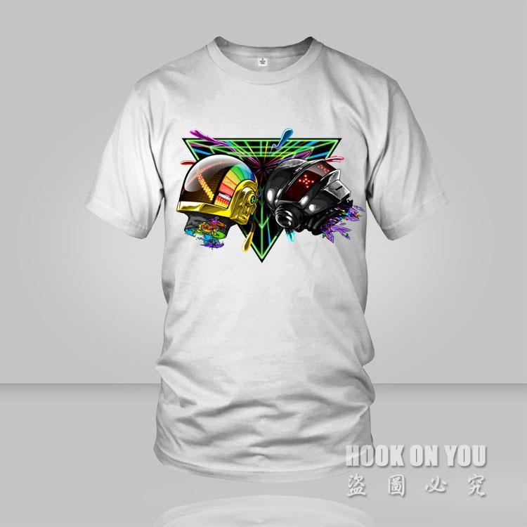 2016 Daft Punk Outer space helmet print O Neck Cotton T-shirt Fashion Music DJ Male & Famale Free shipping