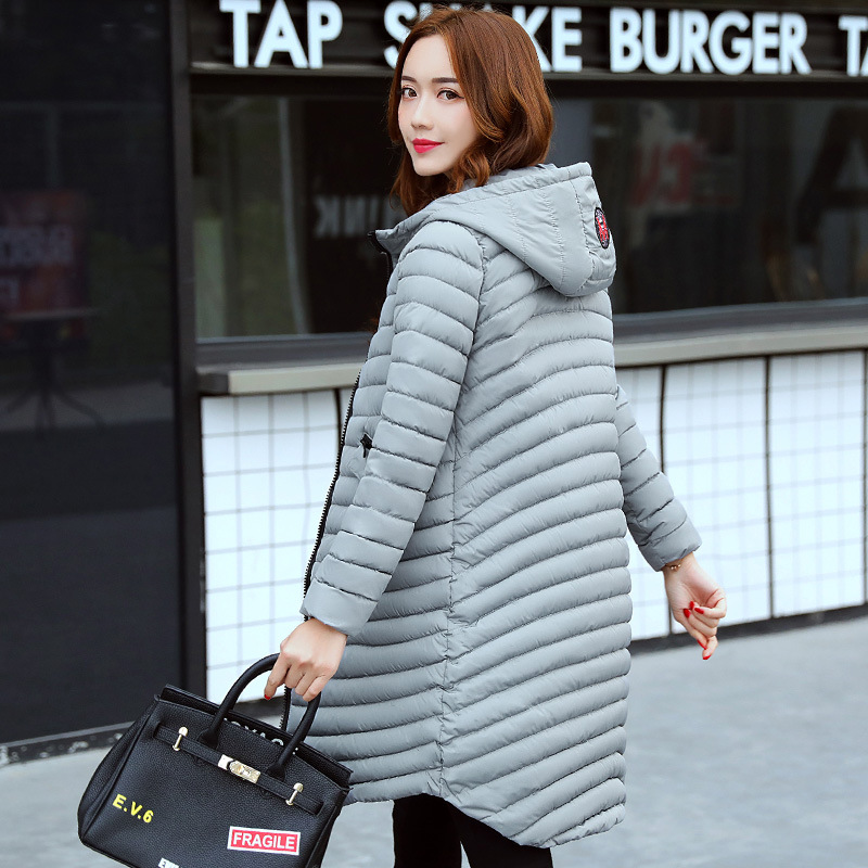 2017 New Fashion Winter Parkas Cotton Padded Jacket Casual Female Slim Long Coat Pattern Hooded Coat Thick Thin Outwear M-3XL 2017 winter new cotton coat women long slim thick warm casual hooded badge pattern fashion jacket female fashion parkas