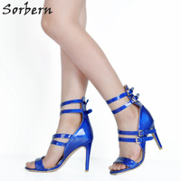 Sorbern Buty Kobieta Pompy Plus Size Royal Blue Women Shoes Szpilki Na Lato 2017 Patent Skórzany Pasek Klamra Panie pompy