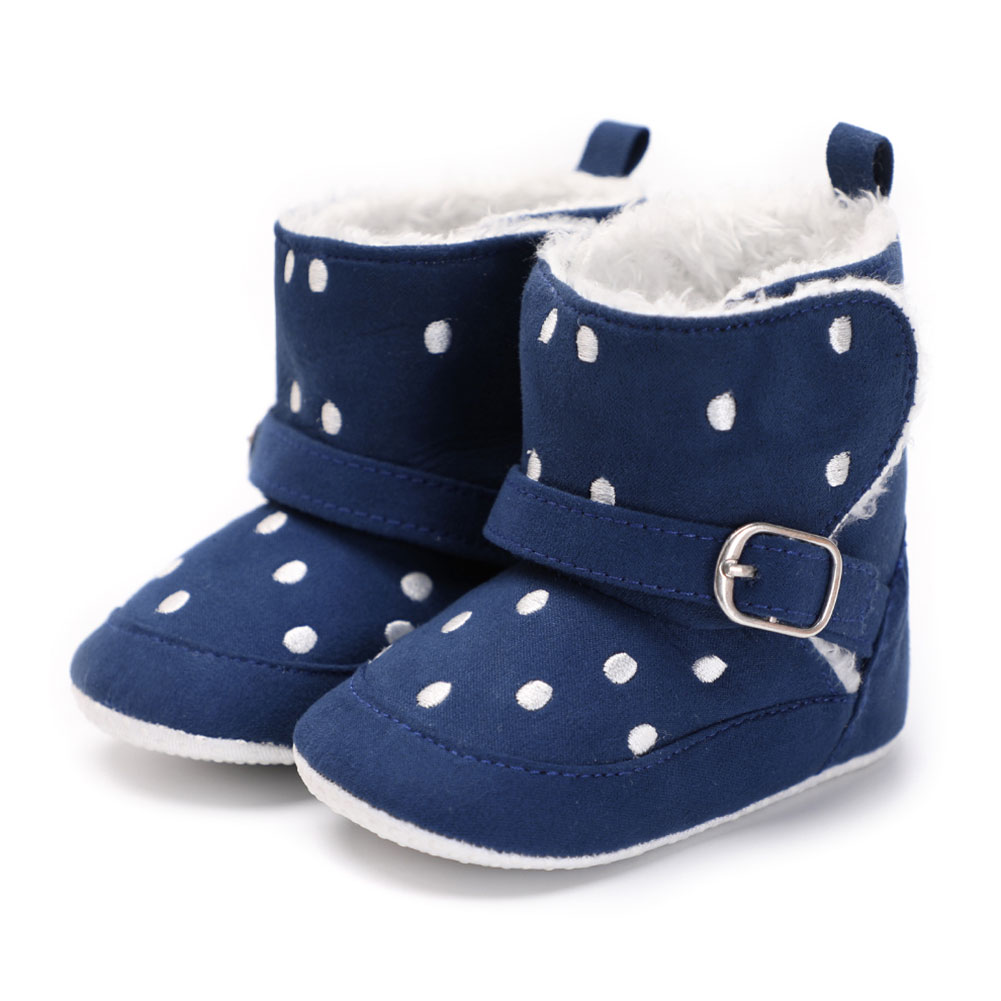 NEW HOT SALES Newborn Girls Dots Snow Boots Plush Crib Shoes Toddler High Boots Kids Prewalker