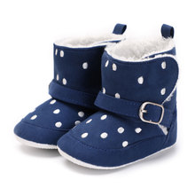 NEW HOT SALES Newborn girls dots snow boots plush crib shoes toddler high kids prewalker