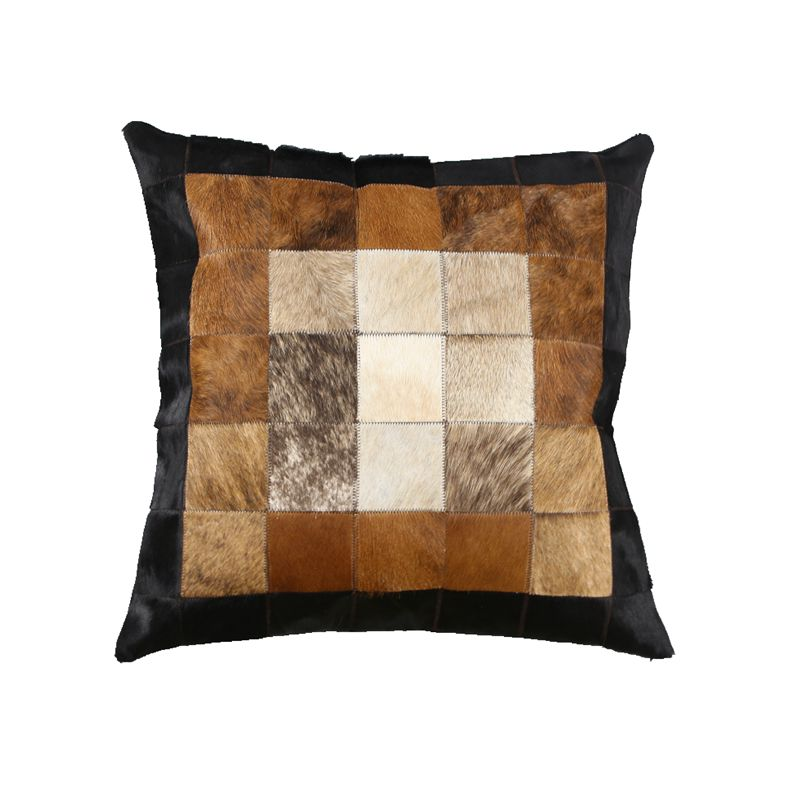 Hand Made Real Cow Fur Plaid Throw For Furniture Upholstery Durable Soft Cowhide Skin Fur Pathwork Pillow Cushion With Core