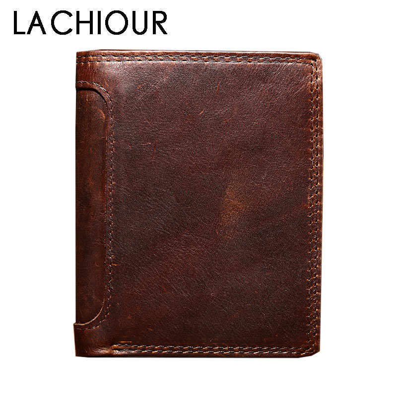 Vintage Trifold Genuine Leather Wallet Men Design Cowhide Leather ID Card Holder Male Purse Short Coin Pocket Bag Purse Boy williampolo mens mini wallet black purse card holder genuine leather slim wallet men small purse short bifold cowhide 2 fold bag