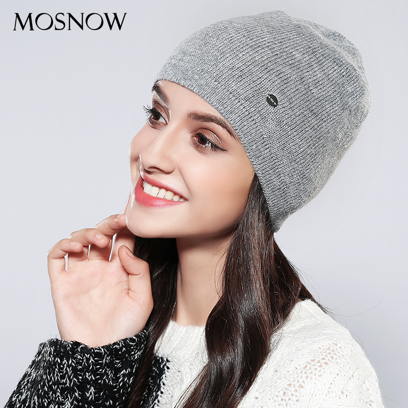 MOSNOW Knitted Hats Women Solid Fashion High Quality Skullies Beanies 2018 Autumn Winter Knitted Black Hat Female Bonnet  #MZ746