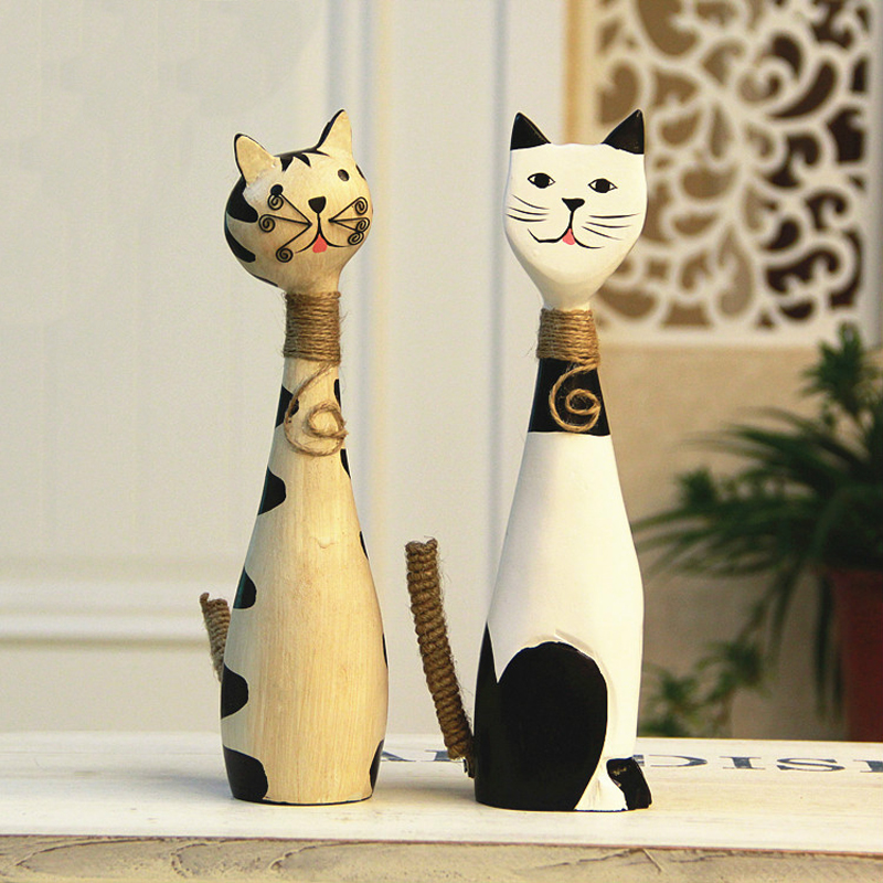 Home Decoration And Furnishing Articles Couple Characters: 2PCS/SET Wood Cute Couples Cat Figurine Crafts Animal