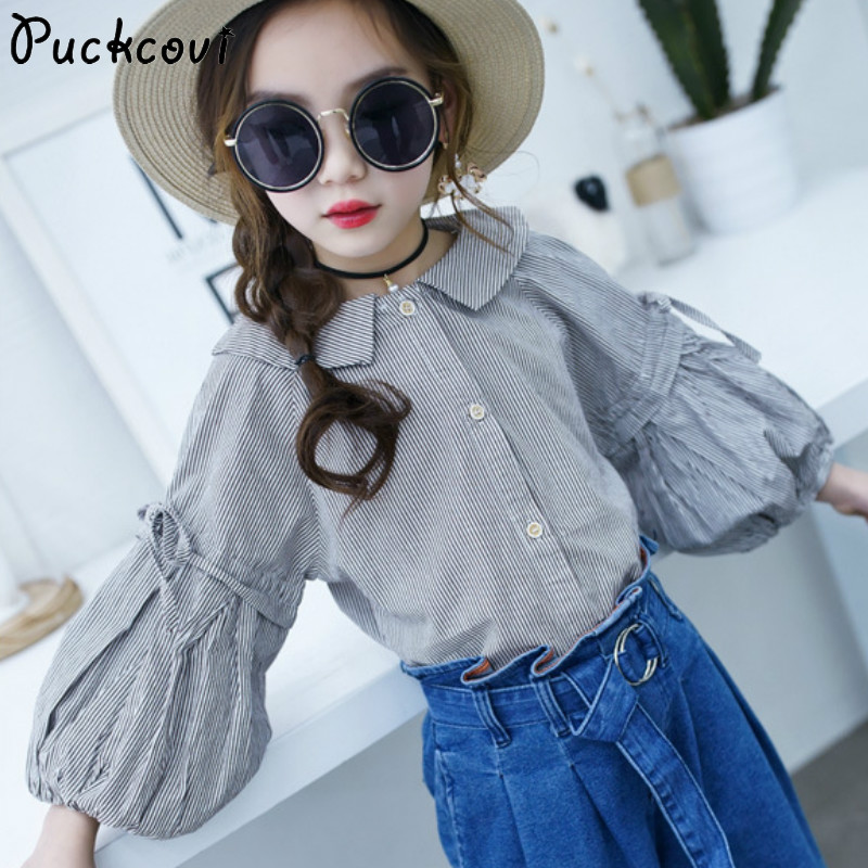 Girl Blouse Kids clothes 2018 New Stripe Girls blouses Fashion sleeves Cotton shirts Spring Autumn blouse Long sleeve 3-13 Y