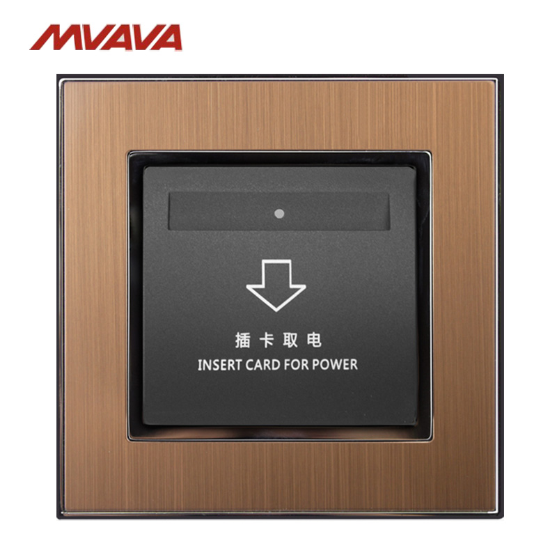 MVAVA InsertHotel Card Electrical Outlet Luxury Card Power Supply Receptacle  Gold Satin Metal Socket Free Shipping factory wholesale 2pcs copper plated hifi ac power bar trip us socket receptacle wall outlet
