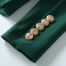 Long Sleeve Double Breasted Metal Lion Buttons Blazer