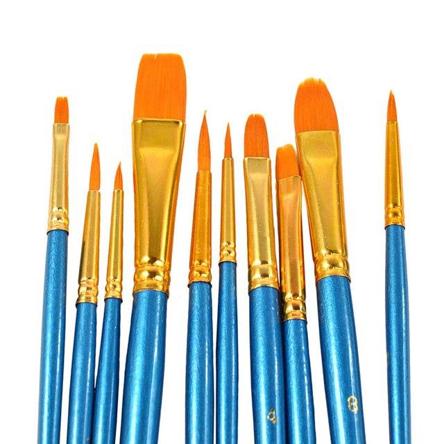 Juego de pinceles de pintura azul de 10 piezas para artistas acuarela acrílica punta redonda de Nylon pelo de alta calidad