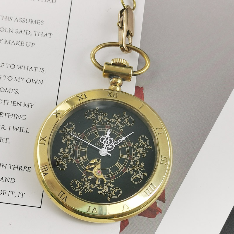 Vintage Gold Skeleton Steampunk Mechanical Pocket Watch Mechanical Hand Wind Fashion Unisex Clock Chain Pendant Men Women Gift