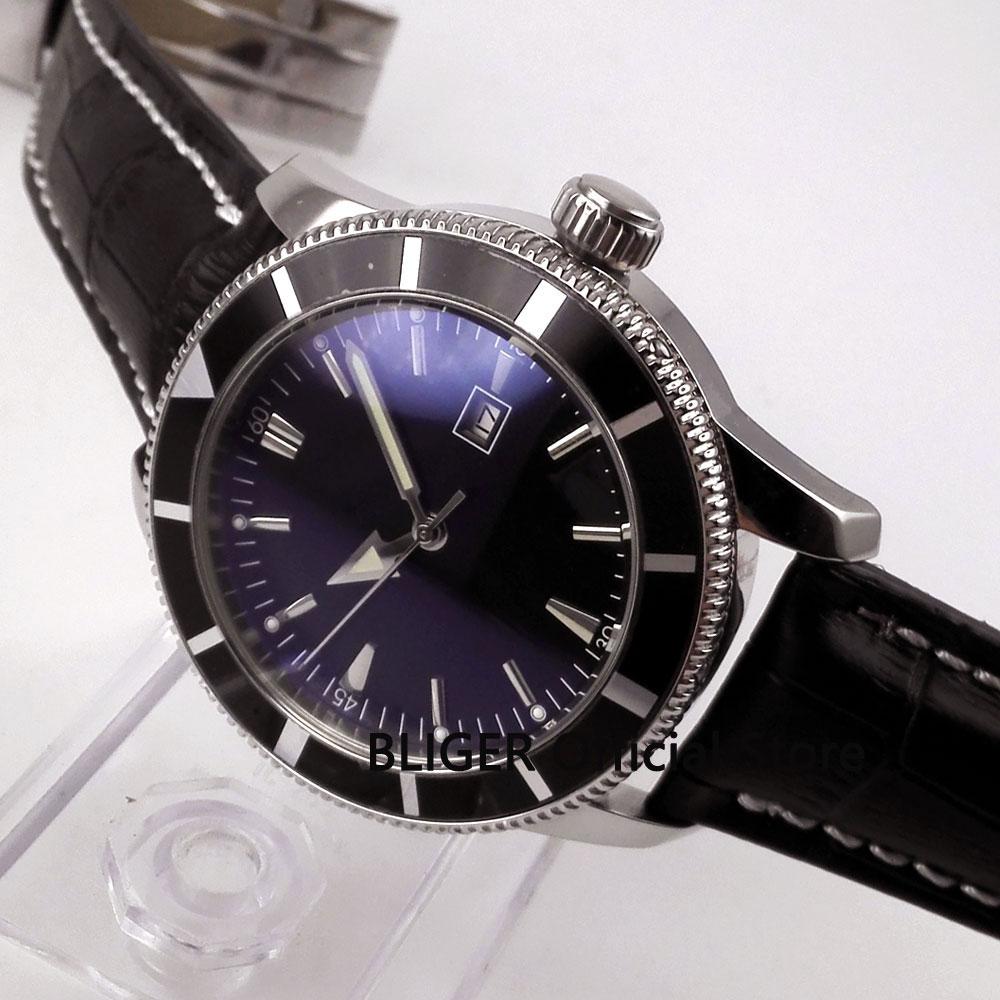 лучшая цена Fashion 46mm Bliger black leather strap black dial bezel luminous hands MIYOTA automatic movement men's watch wristwatch BA4