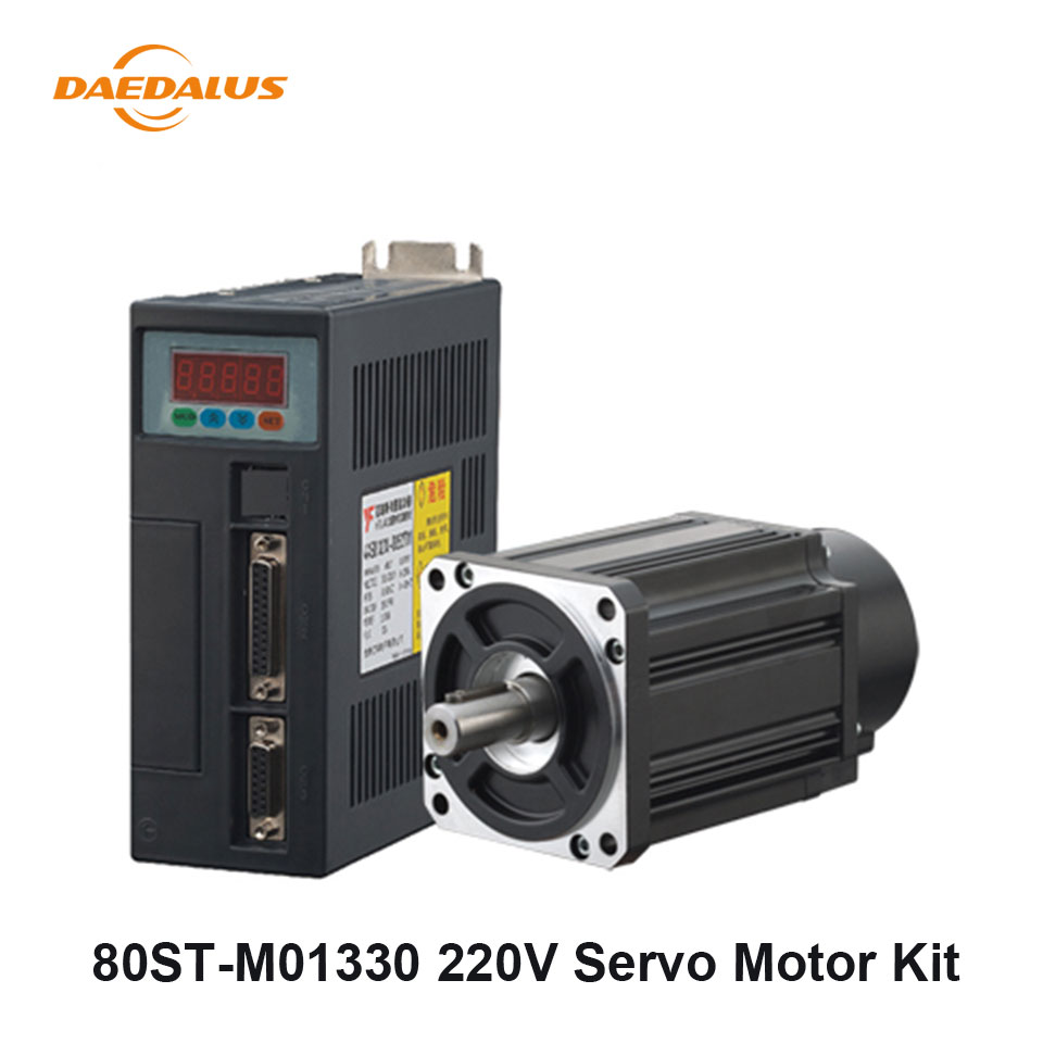 80ST M01330 400W AC Servo Motor Drive Kit 220V 1.27N.M 15A AC Servo Motor Driver 3M Cable For CNC Machining Equipment