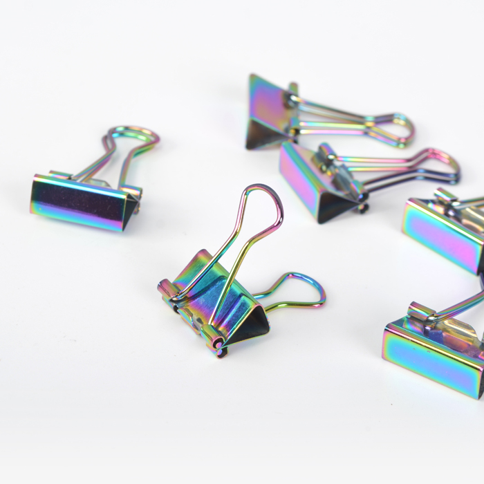 Colorful Rainbow Color Metal Binder Clips Notes Letter Paper Clip Paper Organizer Decorative Metal Clips Drop Shipping