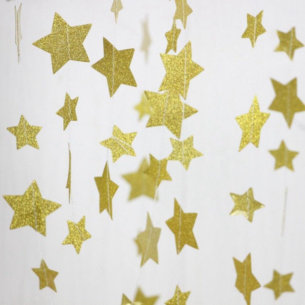 FENGRISE 4M Gold Star Garland Sparkle Wedding Banner Birthday ...