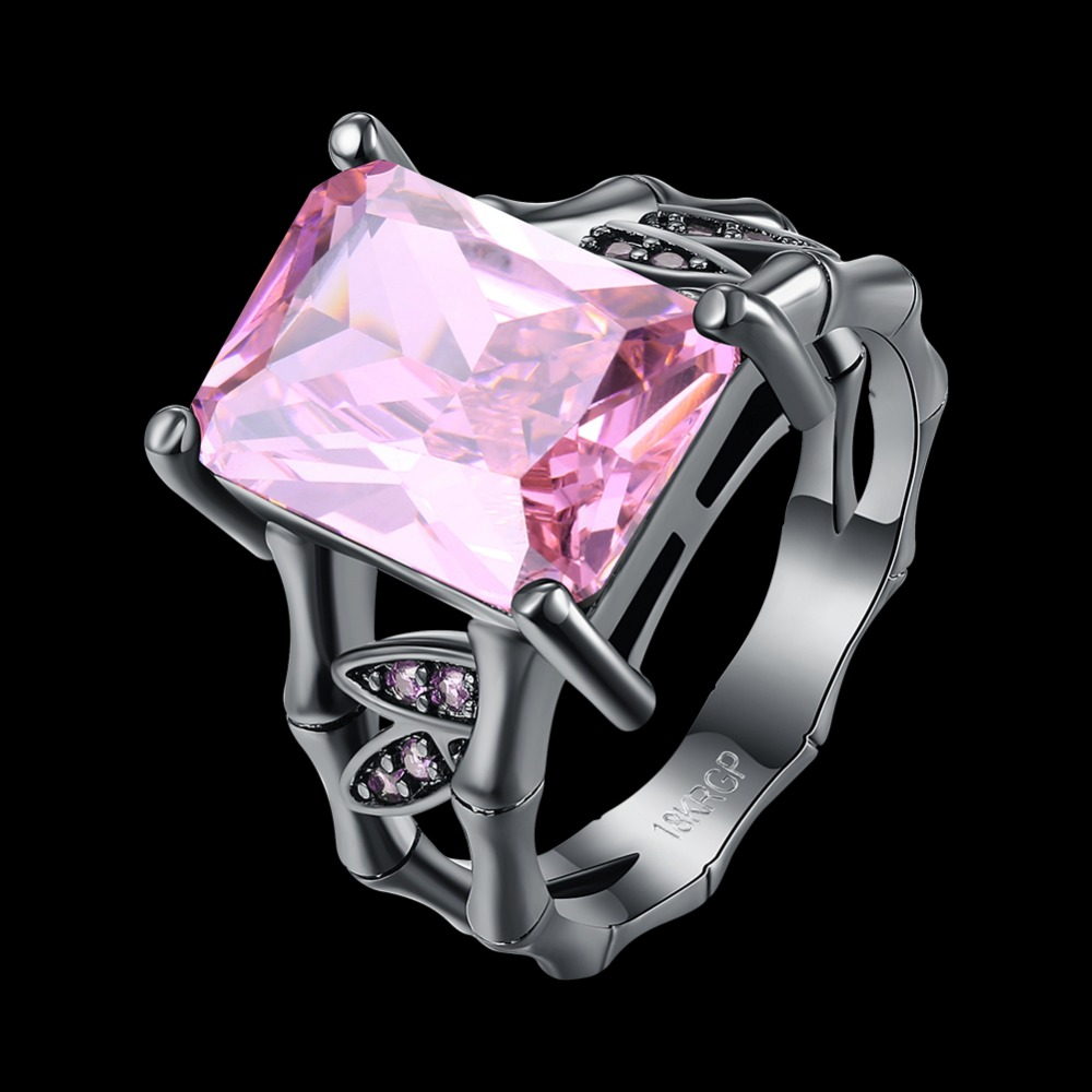 Free Shipping Dream Pink Style Wedding Rings For Women Separate Black Gun  Plated Ring Geometric Rings