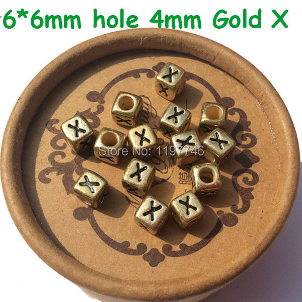 Beads & Jewelry Making Wholesale 2750pcs Cube Gold Color Acrylic Letter Beads 6*6mm Plastic Single Letter R Printing Alphabet Name Bracelet Beads Top Watermelons