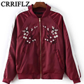2016 New European Style New Autumn Collar Embroidered Baseball Uniform Jacket Flight Jacket IF600