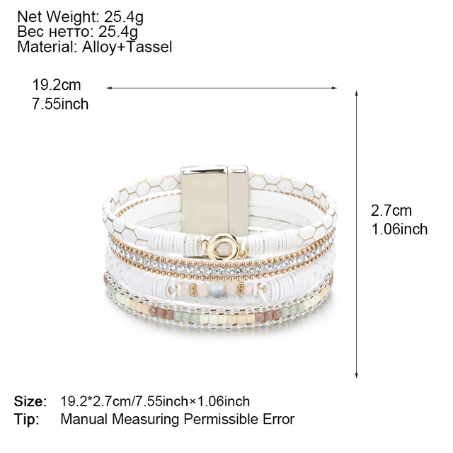 White Leather Bangles Rhinestone Crystal Metal Charm Wide Multilayer Wrap Bracelet