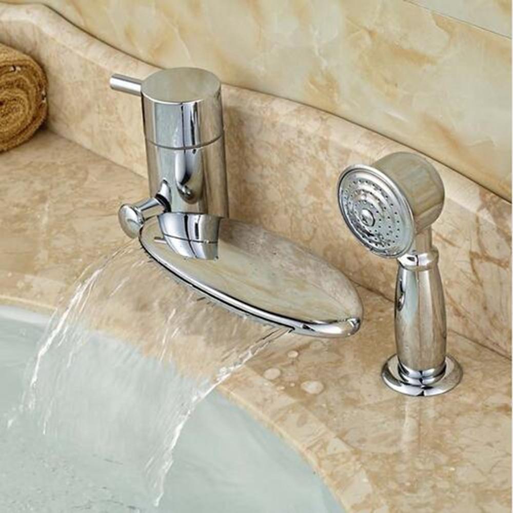 Brass Chrome Deck Mount Single Handle Waterfall Bathroom Tub Faucet Single Handle niko 50pcs chrome single coil pickup screws