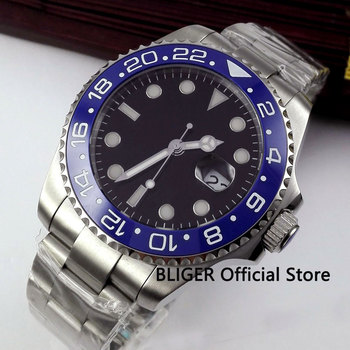 Sapphire Crystal 43mm Black Sterile Dial Blue Ceramic Bezel Luminous Marks Miyota Automatic Movement Men's Watch B306