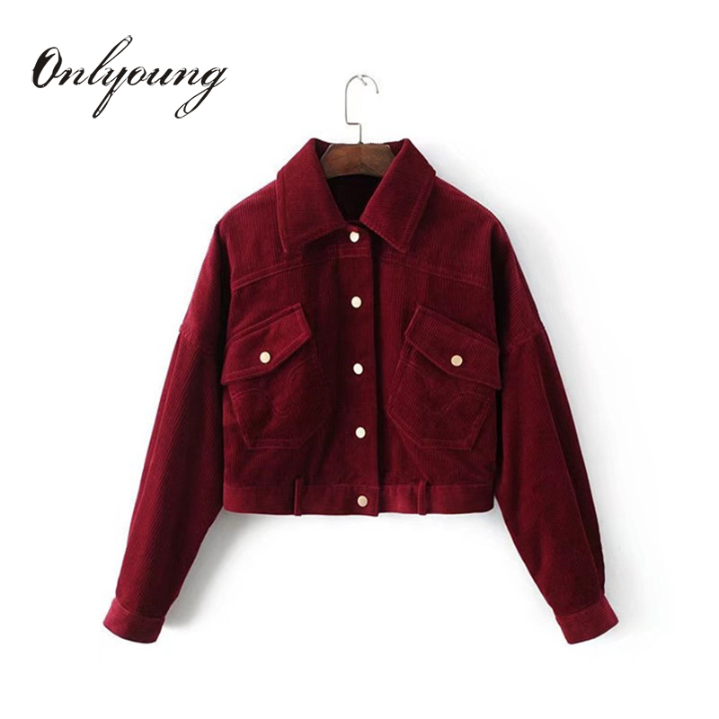 Onlyoung 2017 Autumn Women Corduroy   Jacket   Coat Casual Outwear Pocket Button Long Sleeve Vintage Short   Basic     Jackets