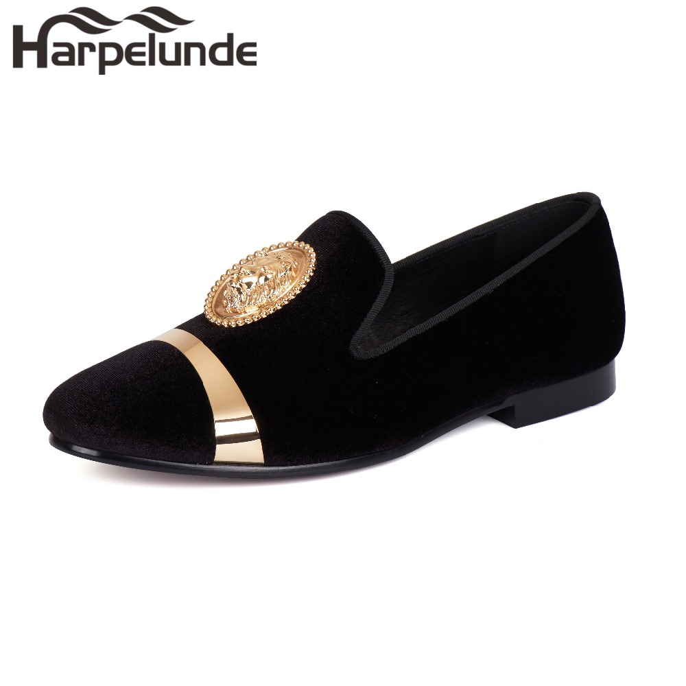 Harpelunde Black Men Velvet Loafer Shoes Animal Buckle Dress Wedding Shoes With Gold Plate Size 6-14 harpelunde animal buckle men dress loafers printed velvet flat shoes with copper cap toe size 6 to 14