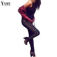 2018 summer fashion pencil slim skinny black jeans woman white side lace up punk denim trousers women jeans pants