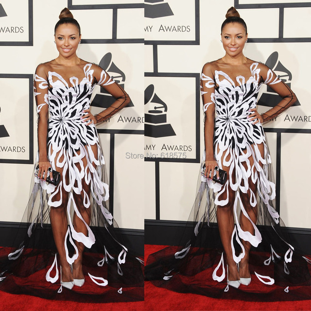 A-Line Sheer Long Sleeve O Neck Lace Red Carpet Formal Prom Gown 57th Grammy Awards Kat Graham Celebrity Dresses