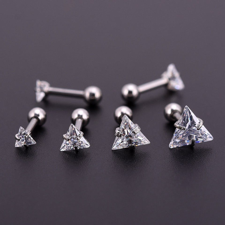 One Silver Zircon Crystal Round Ball Tongue Lip Bar Ring Stainless Steel Barbell Ear Stud Body Piercing Jewelry