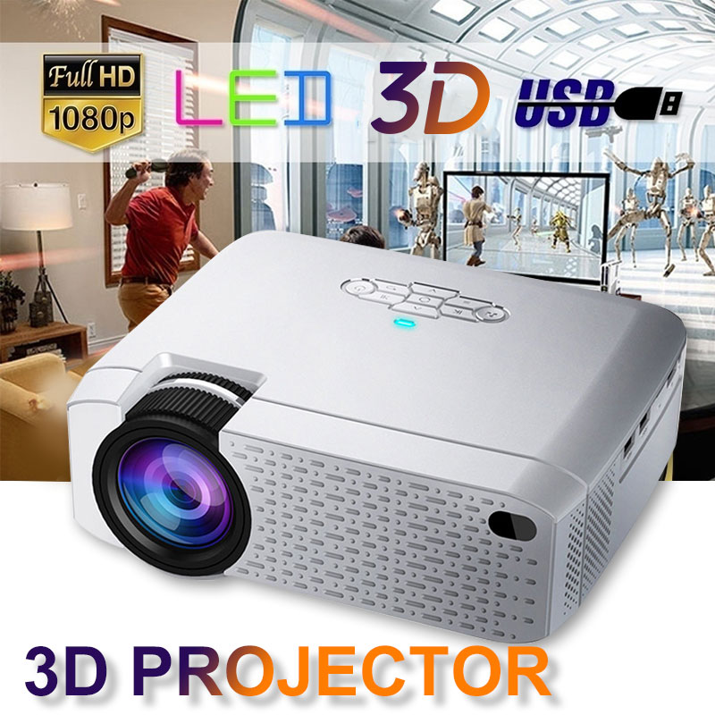 LED Mini Projector D40W,Video Beamer for Home Cinema.1600 Lumens, Support HD, Wireless Sync Display For iPhone/Android Phone