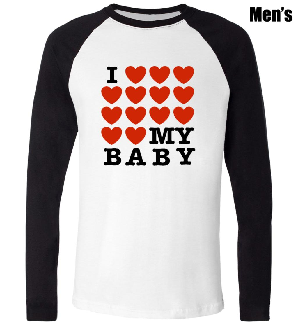 Design t shirt love - I Love My Baby Full Heart Love Funny Design Printed T Shirt Men S Boy S Graphic Tops Blue Or Black Sleeve In T Shirts From Men S Clothing Accessories On