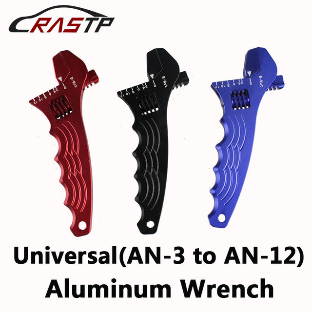 RASTP  Car Replace tool Adjustable Aluminum WRENCH HOSE Fitting Tool Aluminum Spanner Double Function AN3 AN12 RS TC005