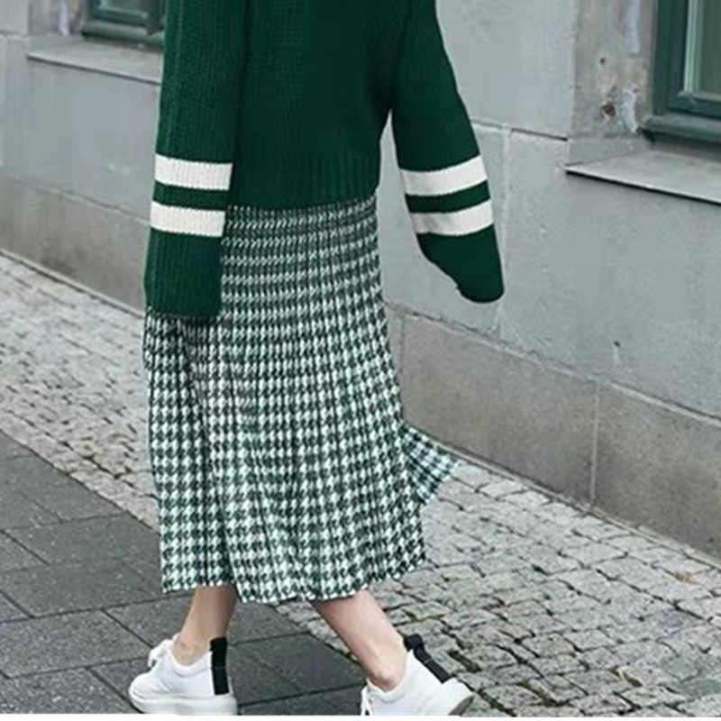 """Женская плиссированная юбка из трикотажа, длинная юбка с твидовым узором """"хаундстут"""", с завышенной талией, А-силуэт, стильный винтажный вариант для офиса, элегантная модель для женщин на осень и зиму"""
