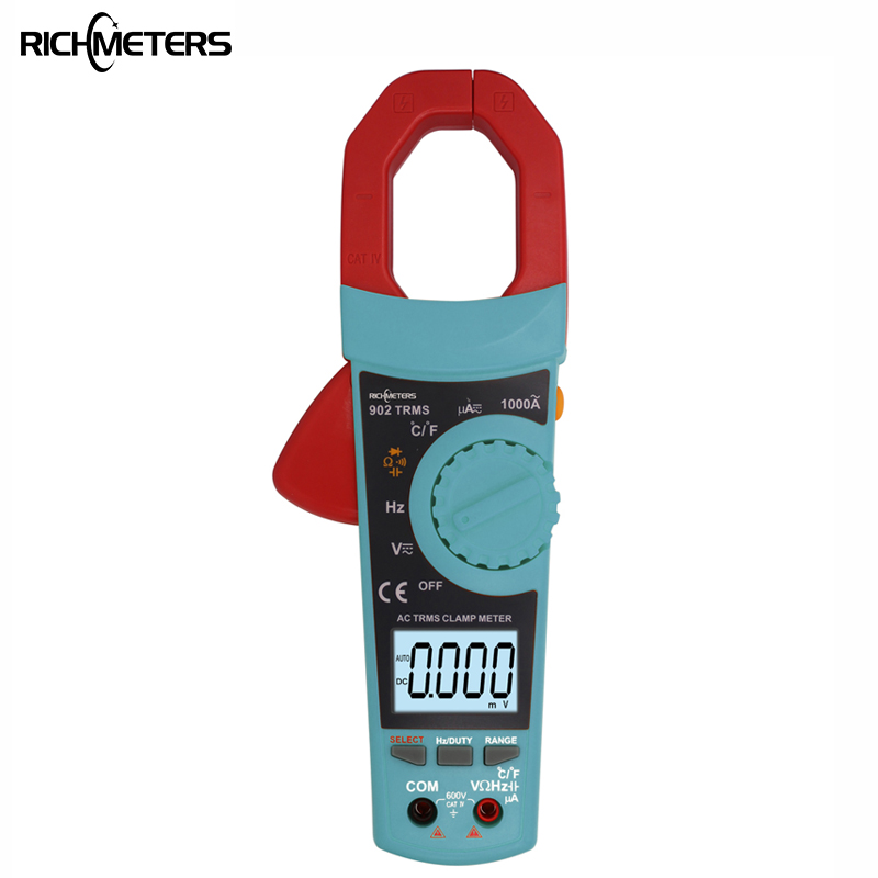 RICHMETERS 902 Digital Clamp Meter Voltmeter Auto-ranging multimeter AC DC Voltage meterTemperature 1 pcs mastech ms8269 digital auto ranging multimeter dmm test capacitance frequency worldwide store