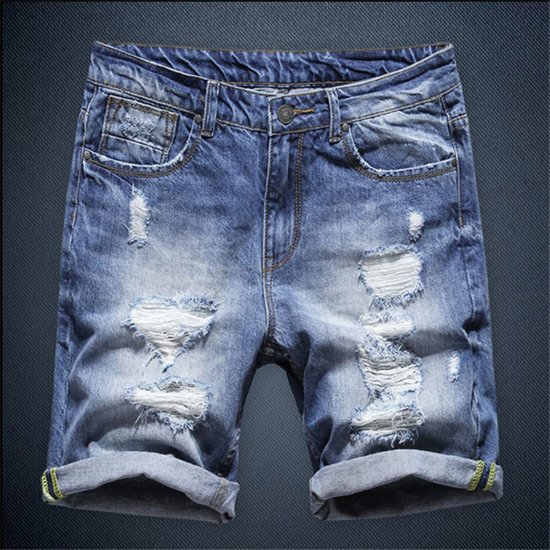 ФОТО Men Washed Blue Denim Shorts New Summer Regular Casual Knee Length Short Bermuda Masculina Hole Jeans Shorts For Men A1112