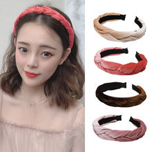 Fioday Braid Vintage Hairband for Women Velvet Knotted Headband Twist Turban Hoop Rims Hair Accessories Headwear Drop Shipping(China)