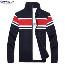 HENG JI 2017 han edition winter new men's knitwear, casual collar stripe knit sweater, high quality sweater, free shipping