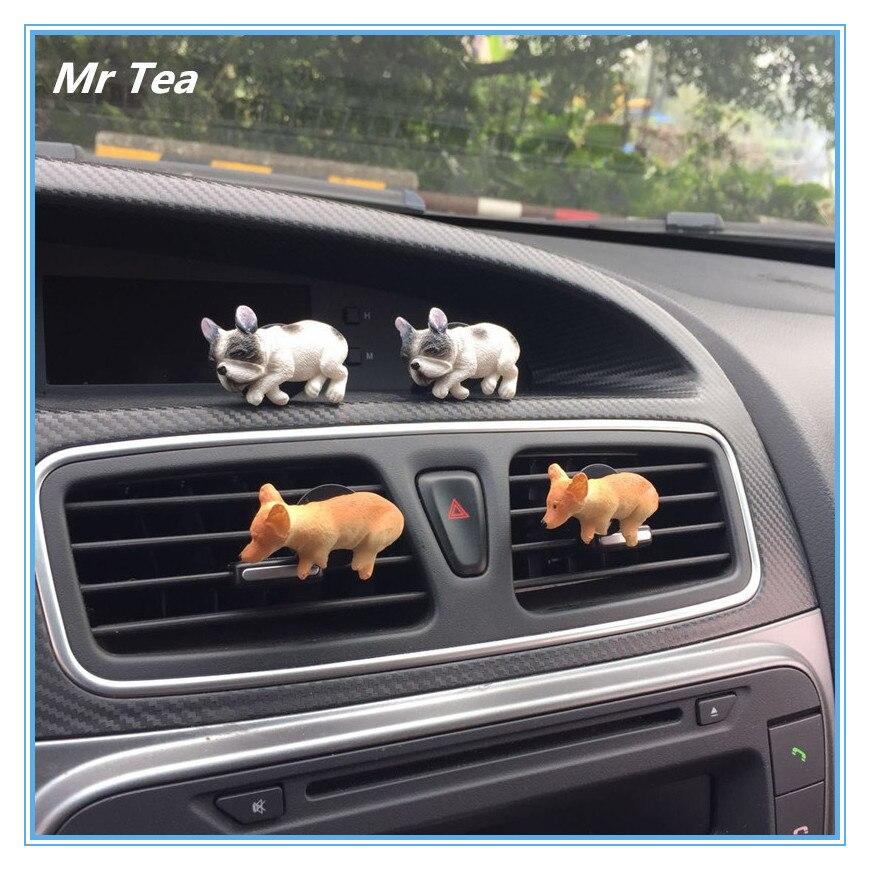 MR TEA Cute Dog Husky Automobile Car Vent Air Freshener Perfum Clip Figure Auto Interior Decoration Toys Accessories