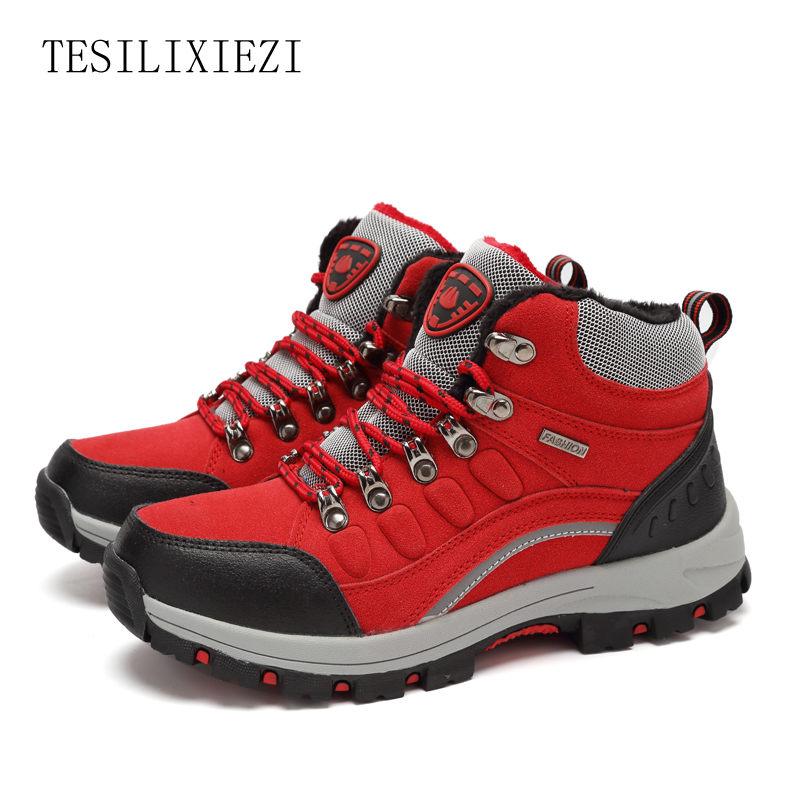 New 2017 Sneakers Women Hiking Shoes Outdoor Trekking Boots Climbing Shoes Sports Rubber Sole Shoes Winter Waterproof Nubuck humtto new hiking shoes men outdoor mountain climbing trekking shoes fur strong grip rubber sole male sneakers plus size